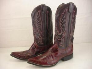 Men's 9.5 D M Handmade Exotic EEL Skin Burgundy Black Cowboy Boots Pointed Toe