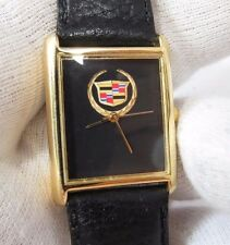 CADILLAC, Black Leather, Black Face, Gold Plated Case/Buckle, UNISEX WATCH 194