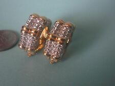 Gold Plated Huggie Clip-On Earrings Swarovski Swan Mark, Crystals 30.7 g total