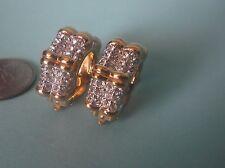 Gold Plated Huggie Clip-On Earrings Swarovski Swan Mark, Crystals 30.7 g total