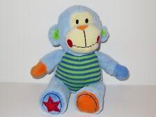 Baby Essentials Plush Blue Monkey Stuffed Animal Green Stripes Red Star Baby Toy