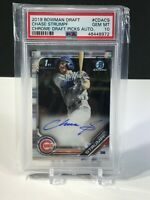 PSA 10 Chase Strumpf 2019 Bowman Draft Chrome Auto GEM MINT CUBS Autograph Card