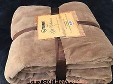 Ultra Soft Fluffy Plush Queen Size L-Brown Color Cozy Blanket Bedspread 3.3lbs