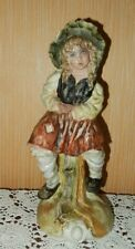 """Vintage 15"""" Peasant Girl Capodimonte Figurine Numbered Hand Painted Excellent"""