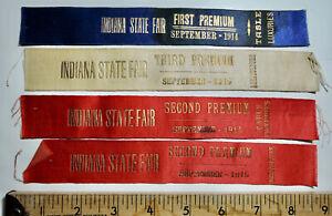 1914 & 1915 Indiana State Fair Award Ribbons (4)