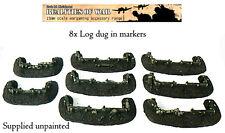 15mm Wargames Terrain 8x unique Log Dug-in markers