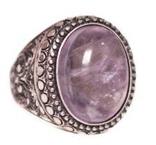 Sterling silver 925  Men ring, Amethyst natural  stone, Steel pen craft