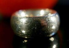 Massiver 925 Sterling Silber Ring Breit Dick MV Signiert Kerben Shabby Look