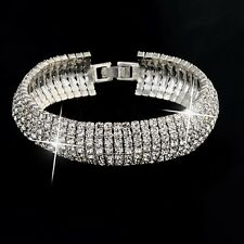 VINTAGE INSPIRED 18K WHITE GOLD PLATED GENUINE CLEAR  AUSTRIAN CRYSTAL BANGLE