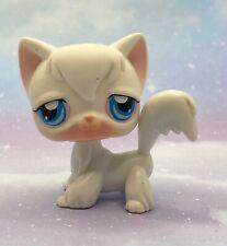 Littlest Pet Shop Authentic # 9 Snow White Angora Long Hair Cat Blue Eyes