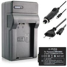 Ladegerät (Black) + Akku DMW-BMB9E für Panasonic Lumix DMC-FZ100, FZ150