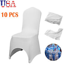 Universal 10 pcs Polyester Spandex Wedding Chair Covers Arched Front White