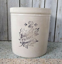 Vintage 2 Gallon Monmouth Pottery Co. Western Black Maple Leaf Stoneware Crock