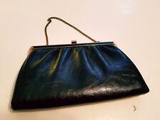 Women's Vintage Black Leather Evening Bag Clutch Gold Chain Strap