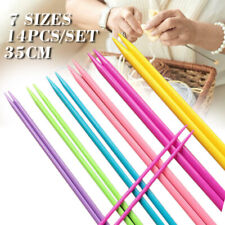 14x 35cm Double Pointed ABS Plastic Knitting Needles DIY Weaving Tool 7 Sizes