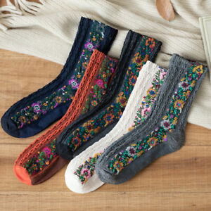5Pairs/Set Vintage Floral Socks Autumn Winter Ladies Flowear Warm Cotton Socks