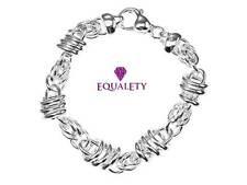 EqualEty Zany Modern Sterling Silver Link Bracelet Valentine Jewellery Gift