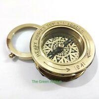 Brass Flip Compass Magnifier Nautical Gift
