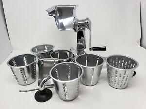 Vintage Saladmaster w/ 6 Cones Shredder Grinder Food Processor CLEAN EUC