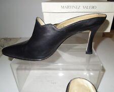 EUC Martinez Valero #12628 Black Raw Nappa Leather Mules 7.5M SPAIN