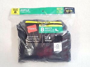 Hanes Mens Ankle Socks Black 8 Pairs Big & Tall Size 12-14 New in Package