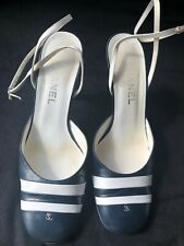 CHANEL CLOSED TOE PUMPS SLINGBACK SANDALS SIZE 8 HEELS ANKLE STRAP
