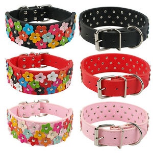 """2"""" Wide Cute Flowers Studded PU Leather Dog Collars For Female Large Girl Dogs"""