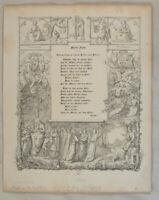 Lied zum Bild von A. DÜRER seltene Original Radierung von A. Müller von 1837