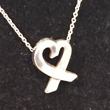 TIFFANY & CO 925 Sterling Silver PALOMA PICASSO Loving Heart Pendent Necklace