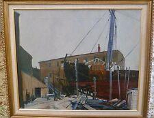 """""""Shipyard"""" 20"""" x 24"""" Oil Painting-Circa 1940s-Harold Drake Tannar"""