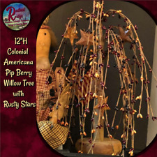 """Primitive Colonial American 12"""" Pip Berry Willow Tree with Rusty Stars"""