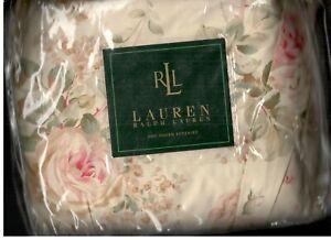 Ralph Lauren Woodstock Garden Floral Pink Queen Bed Skirt Roses Beige Green New