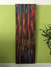 Paint Drip Abstract Painting In Acrylic Medium 12x36 Stretched Canvas