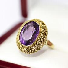 Spectacular Mad men era handmade Amethyst Diamond Engagement or Dinner ring 18ct