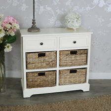 Ivory Wicker Storage Unit Two Drawer Four Baskets chest bathroom bedroom home