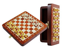 """Bloodwood Magnetic Chess Set 9"""" Folding + Metal Chess Pieces Gold N Silver"""