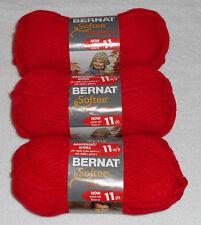 Bernat Softee Chunky Yarn Lot Of 3 Skeins (Berry Red #28705)