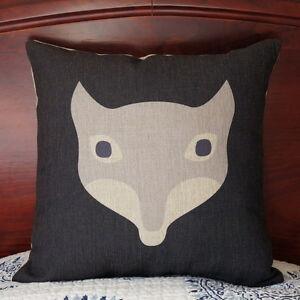 Cotton Linen Cushion Cover Home Decor Fox