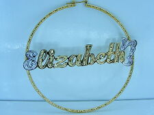 "Personalized 14K Gp Jumbo 3.00"" Round Hoop Name Earrings Gift/Jewelry Any Name"