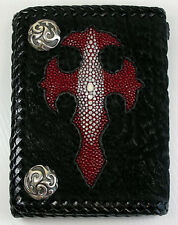 CROSS GENUINE REAL RED STINGRAY SHARK SKIN LEATHER MENS WALLET NEW BIKER