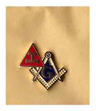 TRIPLE TAU MASONIC LAPEL BADGE THE CRAFT FREEMASON RED CHAPTER MASONRY