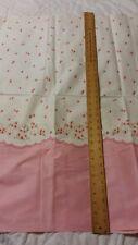 4+ YARDS Vintage 1940s 50s Border Print Pink Flowers Cotton Fabric Yardage