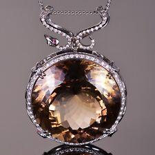 Imperial Topaz, Diamond, and Ruby Snake Pendant in 18K White Gold