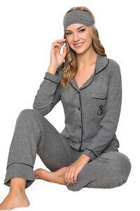 Damen Pyjama Set Langarm Schlafanzug Nachtwäsche 2-Teiler Schwarz 4510