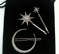 VINTAGE DECO clips cheveux Crescent Moon Stars Anthropologie £ 32 Nouveau 20s/1920s