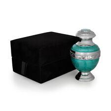 Cremation Urn Solid Brass Teal Keepsake & velvet box