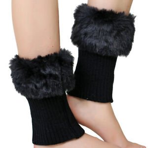 Elastic Boot Topper Faux Fur Plush Comfy Solid Short Stretch Boot Cover Cuffs YS