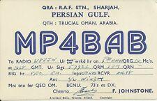 OLD VINTAGE MP4BAB SHARJAH TRUCIAL OMAN ARABIA AMATEUR RADIO QSL CARD