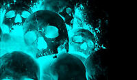 Framed Print - Neon Blue Gothic Horror Human Skulls (Picture Poster Death Art)