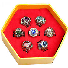 Fashion Anime Hitman Reborn Vongola Ring Crystal Alloy Cosplay Rings Set 7pc/Set